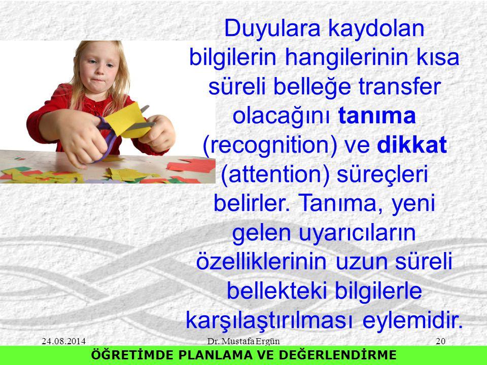 24.08.2014Dr. Mustafa Ergün20 ÖĞRETİMDE PLANLAMA VE DEĞERLENDİRME Duyulara kaydolan bilgilerin hangilerinin kısa süreli belleğe transfer olacağını tan
