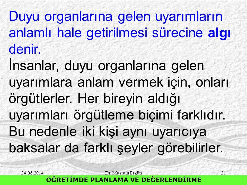 24.08.2014Dr. Mustafa Ergün21 ÖĞRETİMDE PLANLAMA VE DEĞERLENDİRME Duyu organlarına gelen uyarımların anlamlı hale getirilmesi sürecine algı denir. İns