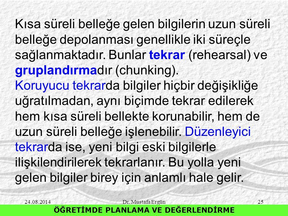 24.08.2014Dr. Mustafa Ergün25 ÖĞRETİMDE PLANLAMA VE DEĞERLENDİRME Kısa süreli belleğe gelen bilgilerin uzun süreli belleğe depolanması genellikle iki