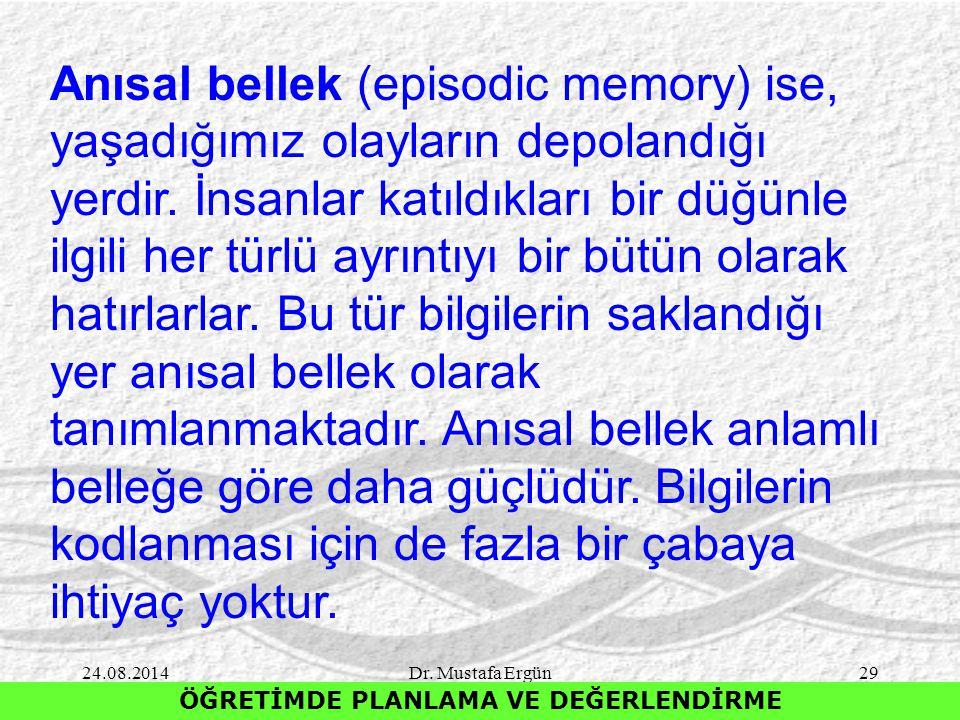 24.08.2014Dr. Mustafa Ergün29 ÖĞRETİMDE PLANLAMA VE DEĞERLENDİRME Anısal bellek (episodic memory) ise, yaşadığımız olayların depolandığı yerdir. İnsan