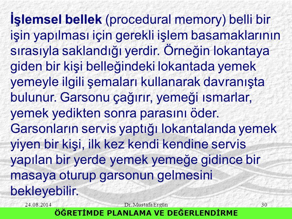 24.08.2014Dr. Mustafa Ergün30 ÖĞRETİMDE PLANLAMA VE DEĞERLENDİRME İşlemsel bellek (procedural memory) belli bir işin yapılması için gerekli işlem basa