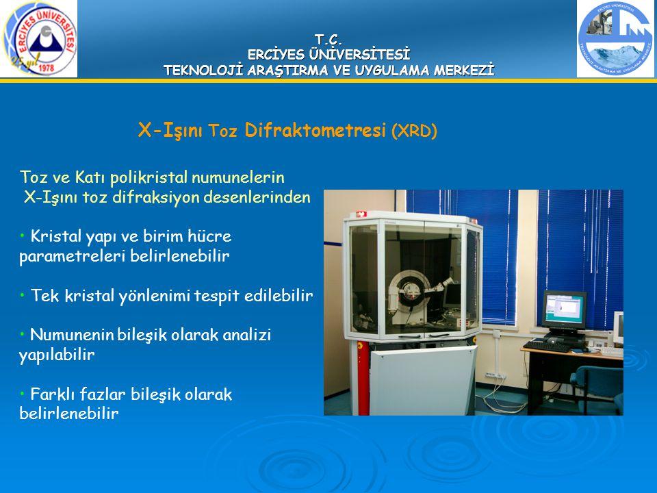 T.C. ERCİYES ÜNİVERSİTESİ TEKNOLOJİ ARAŞTIRMA VE UYGULAMA MERKEZİ X-Işını Toz Difraktometresi (XRD) Toz ve Katı polikristal numunelerin X-Işını toz di