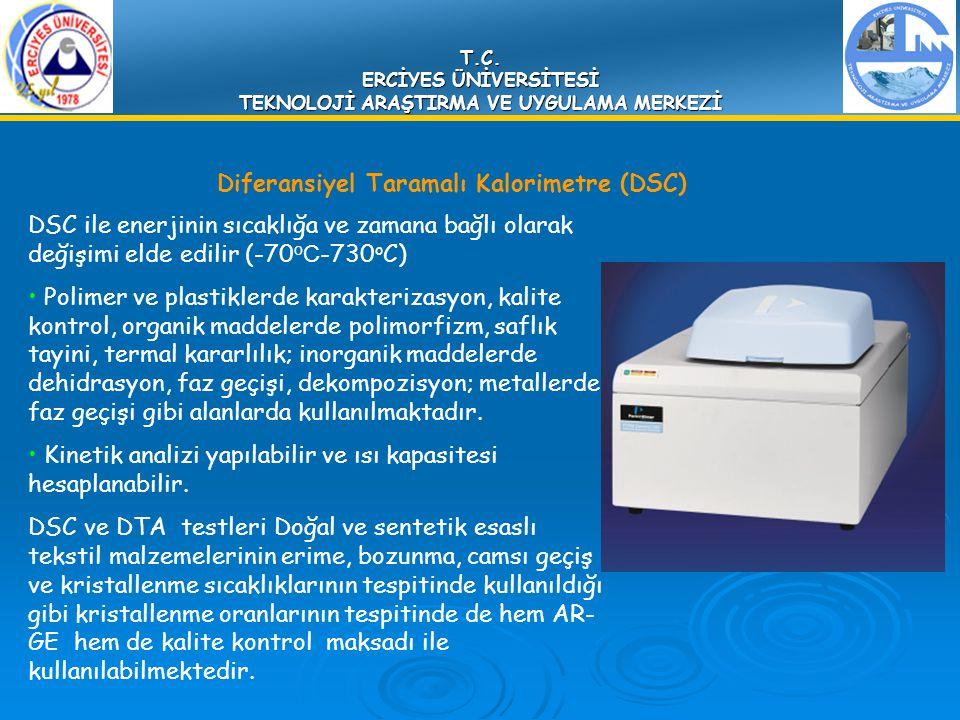 T.C. ERCİYES ÜNİVERSİTESİ TEKNOLOJİ ARAŞTIRMA VE UYGULAMA MERKEZİ Diferansiyel Taramalı Kalorimetre (DSC) DSC ile enerjinin sıcaklığa ve zamana bağlı