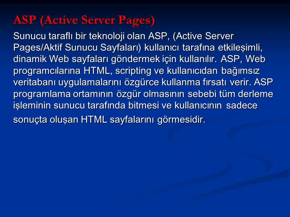 ASP (Active Server Pages) Sunucu taraflı bir teknoloji olan ASP, (Active Server Pages/Aktif Sunucu Sayfaları) kullanıcı tarafına etkileşimli, dinamik Web sayfaları göndermek için kullanılır.