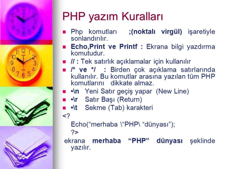 PHP yazım Kuralları Php komutları ;(noktalı virgül) işaretiyle sonlandırılır. Php komutları ;(noktalı virgül) işaretiyle sonlandırılır. Echo,Print ve