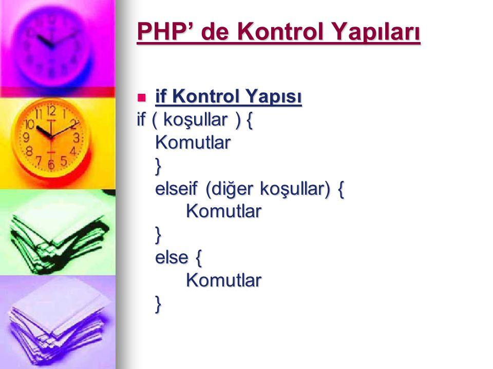 PHP' de Kontrol Yapıları if Kontrol Yapısı if Kontrol Yapısı if ( koşullar ) { Komutlar} elseif (diğer koşullar) { Komutlar} else { Komutlar}