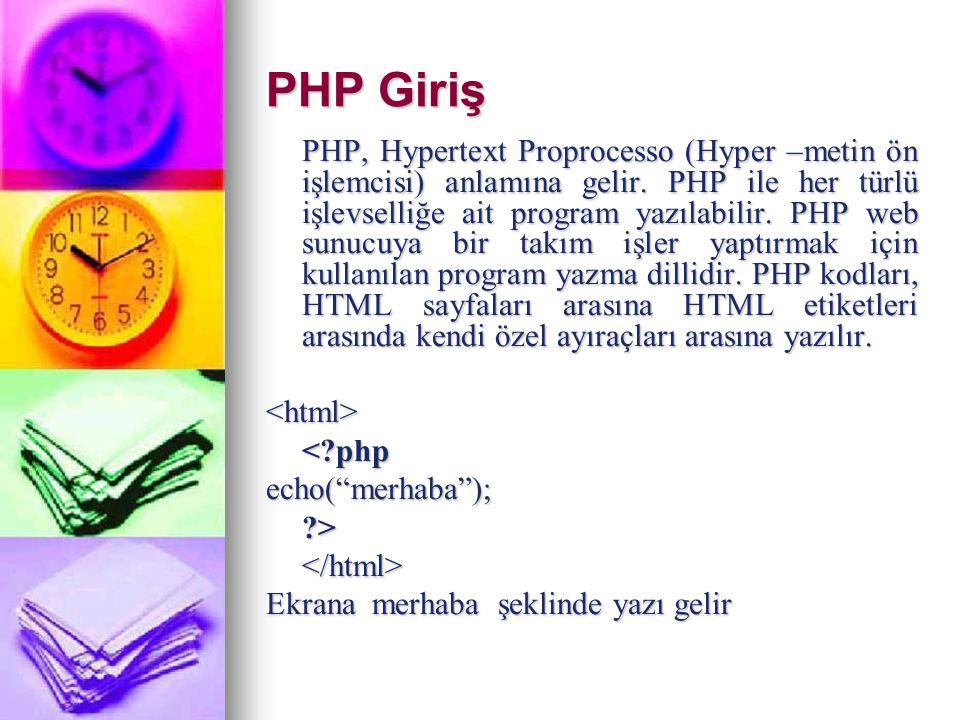 PHP Giriş PHP, Hypertext Proprocesso (Hyper –metin ön işlemcisi) anlamına gelir. PHP ile her türlü işlevselliğe ait program yazılabilir. PHP web sunuc