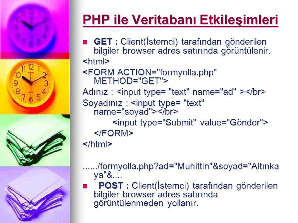 PHP ile Veritabanı Etkileşimleri GET : Client(İstemci) tarafından gönderilen bilgiler browser adres satırında görüntülenir. GET : Client(İstemci) tara
