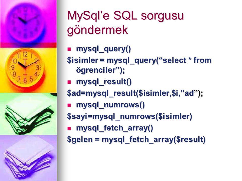 "MySql'e SQL sorgusu göndermek mysql_query() mysql_query() $isimler = mysql_query(""select * from ögrenciler""); mysql_result() mysql_result() $ad=mysql_"