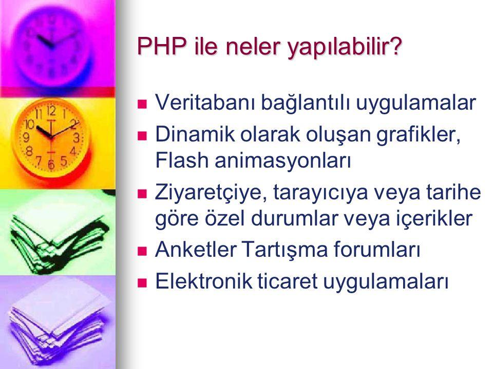 PHP ile neler yapılabilir? Veritabanı bağlantılı uygulamalar Dinamik olarak oluşan grafikler, Flash animasyonları Ziyaretçiye, tarayıcıya veya tarihe