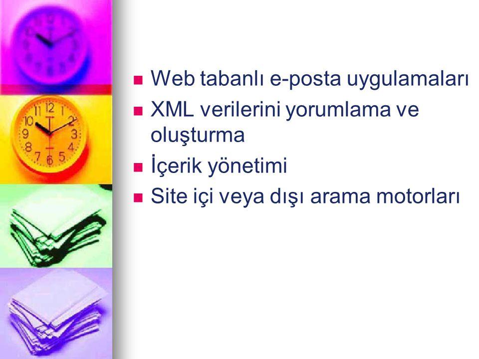 Web tabanlı e-posta uygulamaları XML verilerini yorumlama ve oluşturma İçerik yönetimi Site içi veya dışı arama motorları