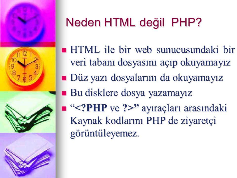 Neden HTML değil PHP? HTML ile bir web sunucusundaki bir veri tabanı dosyasını açıp okuyamayız HTML ile bir web sunucusundaki bir veri tabanı dosyasın