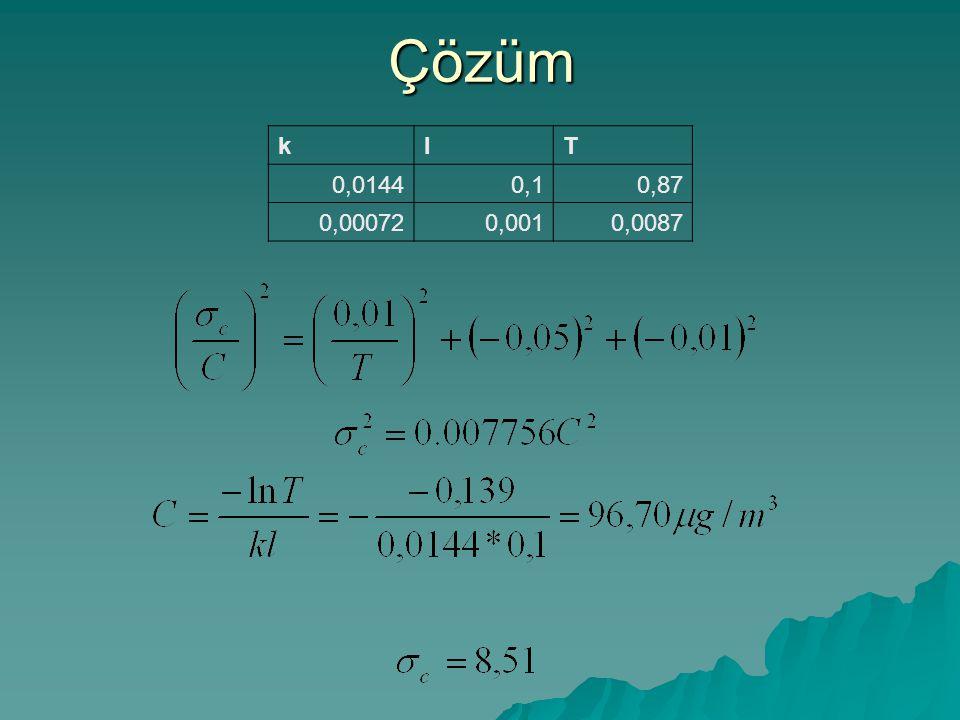 Çözüm klT 0,01440,10,87 0,000720,0010,0087