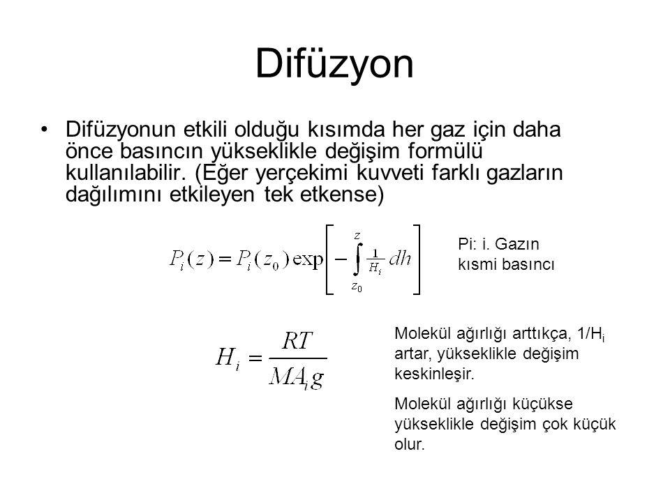 Difüzyon Difüzyonun etkili olduğu kısımda her gaz için daha önce basıncın yükseklikle değişim formülü kullanılabilir.