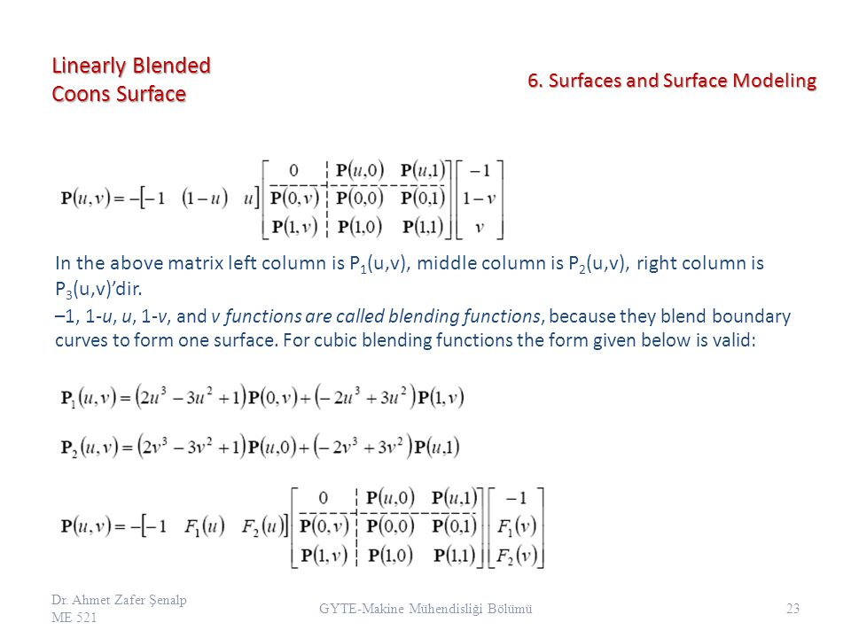 Linearly Blended Coons Surface –1, 1-u, u, 1-v, and v functions are called blending functions, because they blend boundary curves to form one surface.