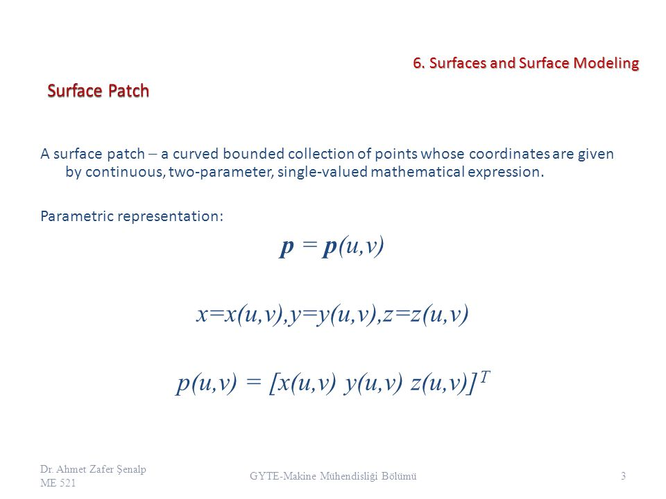 A surface patch a curved bounded collection of points whose coordinates are given by continuous, two-parameter, single-valued mathematical expression.