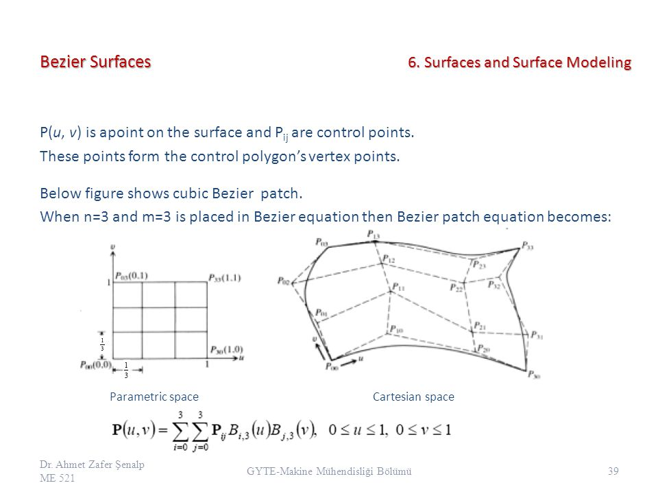 Bezier Surfaces P(u, v) is apoint on the surface and P ij are control points. These points form the control polygon's vertex points. Below figure show