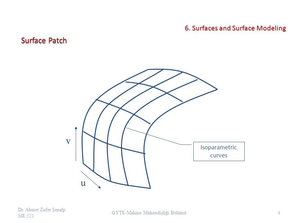 v u Isoparametric curves Dr.Ahmet Zafer Şenalp ME 521 4 GYTE-Makine Mühendisliği Bölümü 6.