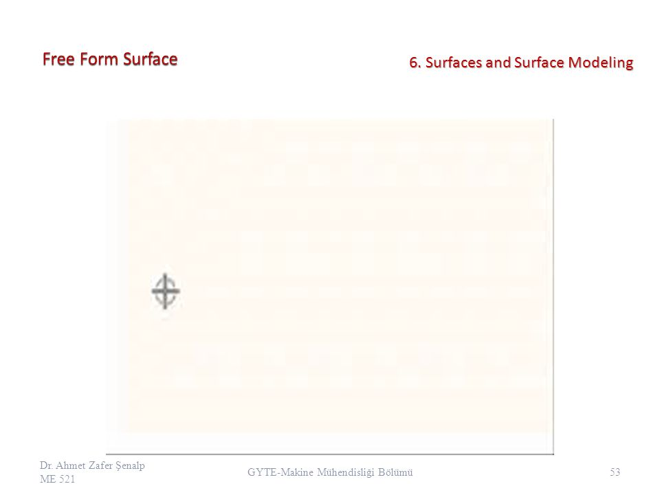 Dr. Ahmet Zafer Şenalp ME 521 53 GYTE-Makine Mühendisliği Bölümü 6. Surfaces and Surface Modeling