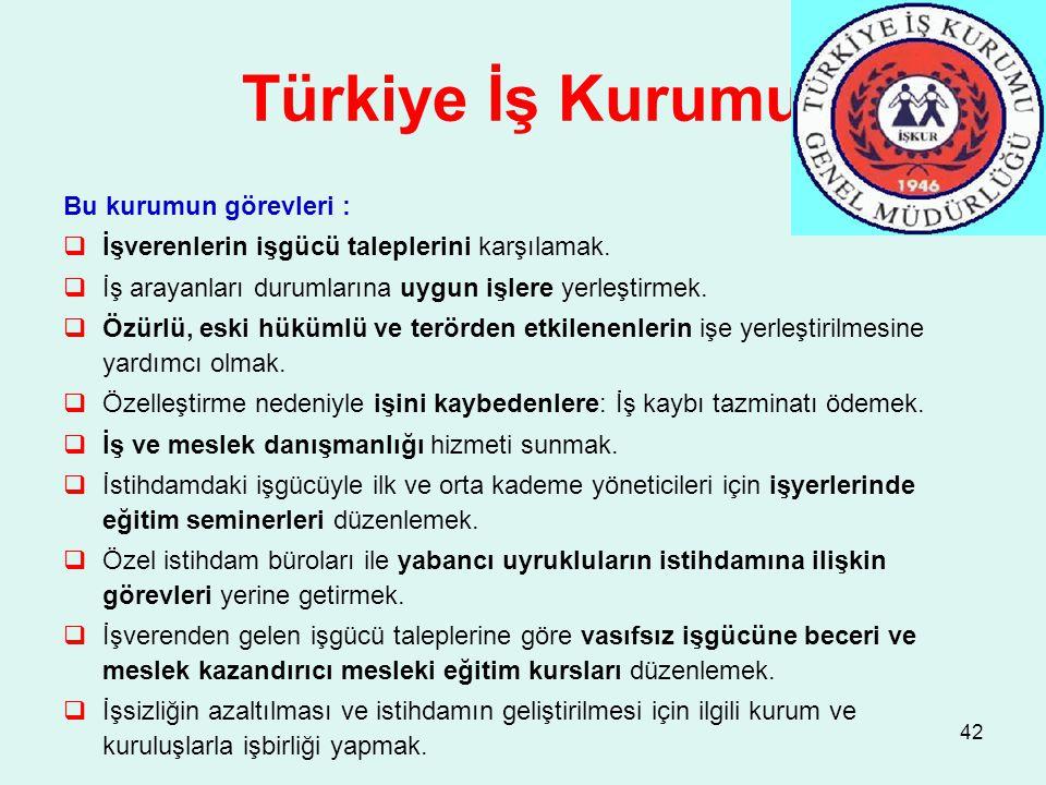 Türkiye İş Kurumu Bu kurumun görevleri :  İşverenlerin işgücü taleplerini karşılamak.  İş arayanları durumlarına uygun işlere yerleştirmek.  Özürlü