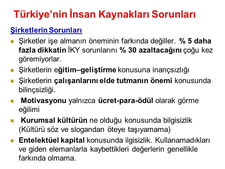 Türkiye'nin İnsan Kaynakları Sorunları ( Prof. Dr. İsmet Barutçugil) İnsanların Sorunları İstek, ihtiyaç ve yeteneklerine göre eğitim alamama sorunu.