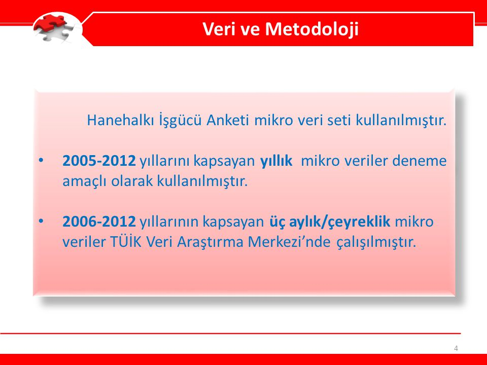 4 Veri ve Metodoloji Hanehalkı İşgücü Anketi mikro veri seti kullanılmıştır. 2005-2012 yıllarını kapsayan yıllık mikro veriler deneme amaçlı olarak ku