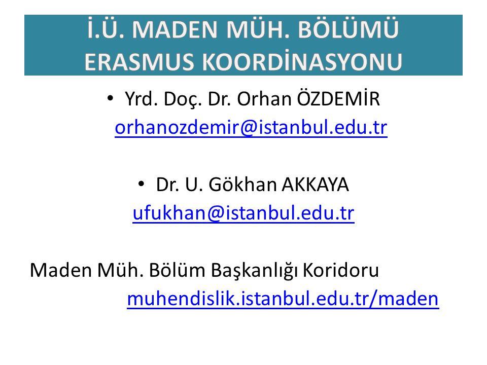 Yrd. Doç. Dr. Orhan ÖZDEMİR orhanozdemir@istanbul.edu.tr Dr. U. Gökhan AKKAYA ufukhan@istanbul.edu.tr Maden Müh. Bölüm Başkanlığı Koridoru muhendislik
