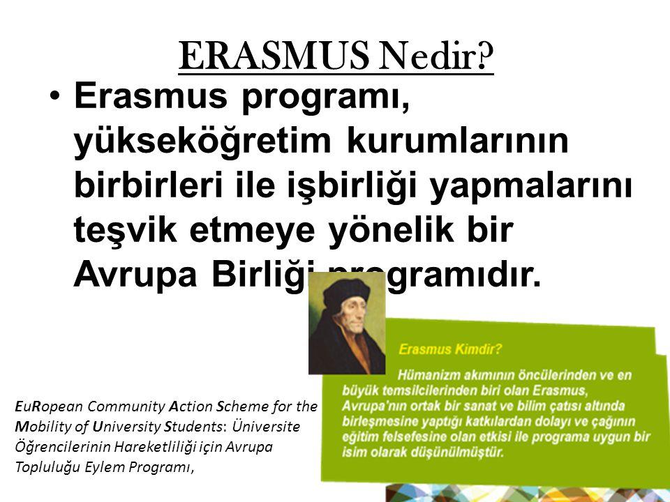 ERASMUS Nedir? Erasmus programı, yükseköğretim kurumlarının birbirleri ile işbirliği yapmalarını teşvik etmeye yönelik bir Avrupa Birliği programıdır.