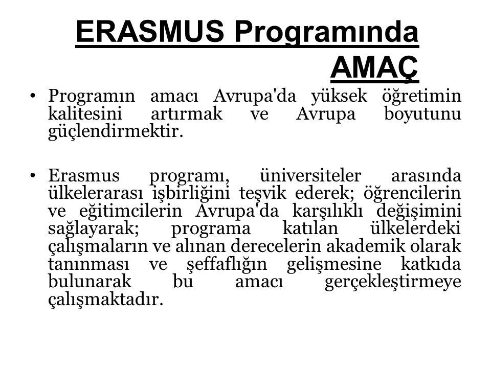 ERASMUS Programında AMAÇ Programın amacı Avrupa'da yüksek öğretimin kalitesini artırmak ve Avrupa boyutunu güçlendirmektir. Erasmus programı, üniversi