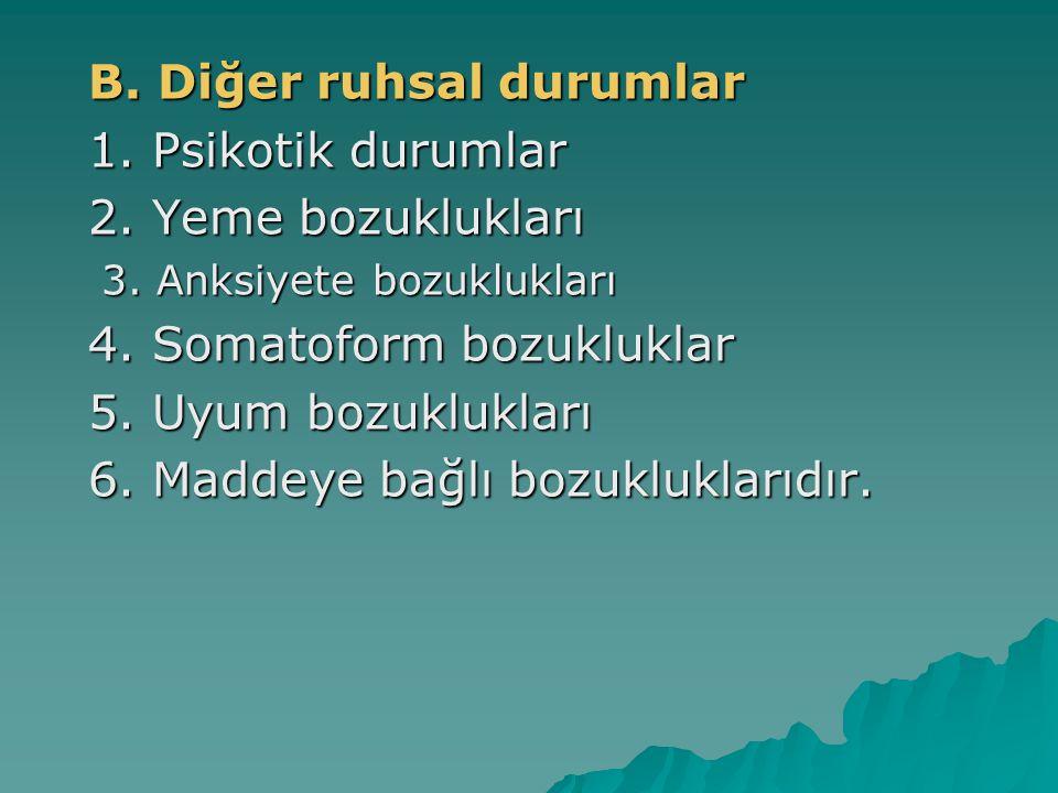 B. Diğer ruhsal durumlar 1. Psikotik durumlar 2. Yeme bozuklukları 3. Anksiyete bozuklukları 4. Somatoform bozukluklar 5. Uyum bozuklukları 6. Maddeye