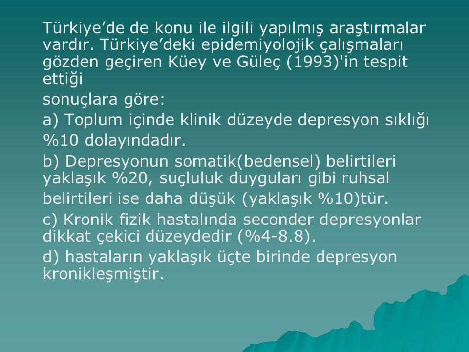 Türkiye'de de konu ile ilgili yapılmış araştırmalar vardır. Türkiye'deki epidemiyolojik çalışmaları gözden geçiren Küey ve Güleç (1993)'in tespit etti