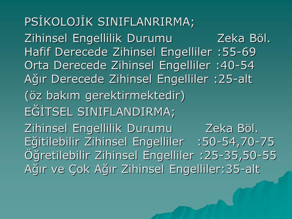 PSİKOLOJİK SINIFLANRIRMA; Zihinsel Engellilik Durumu Zeka Böl.
