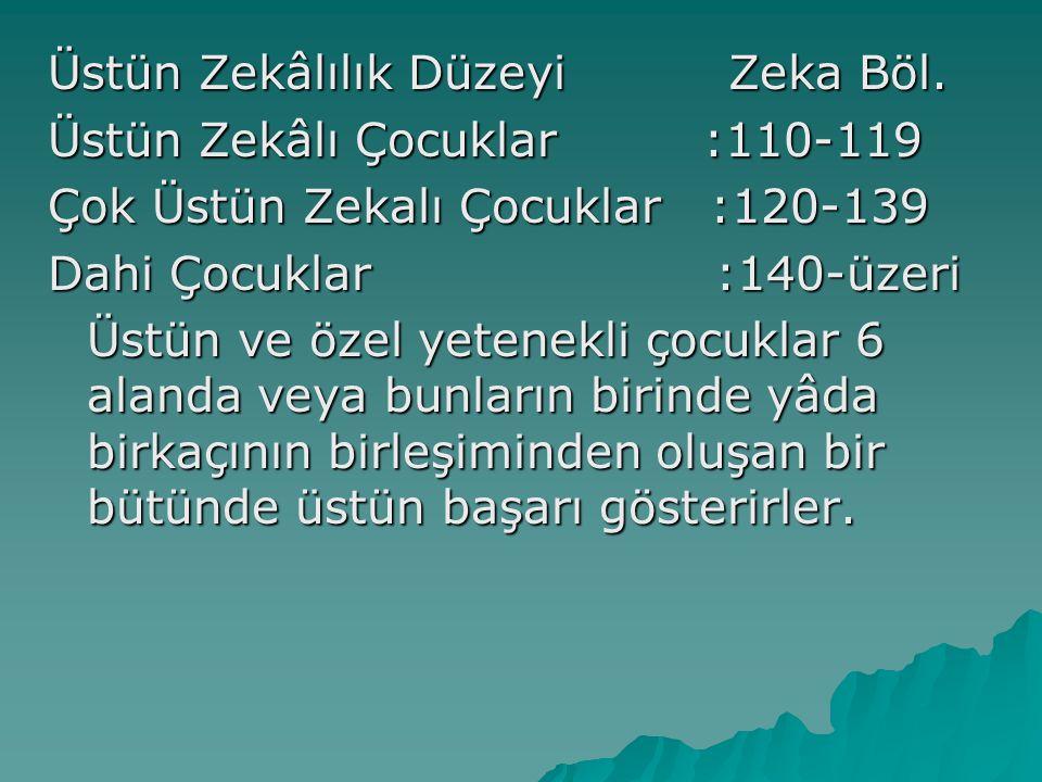 Üstün Zekâlılık Düzeyi Zeka Böl.