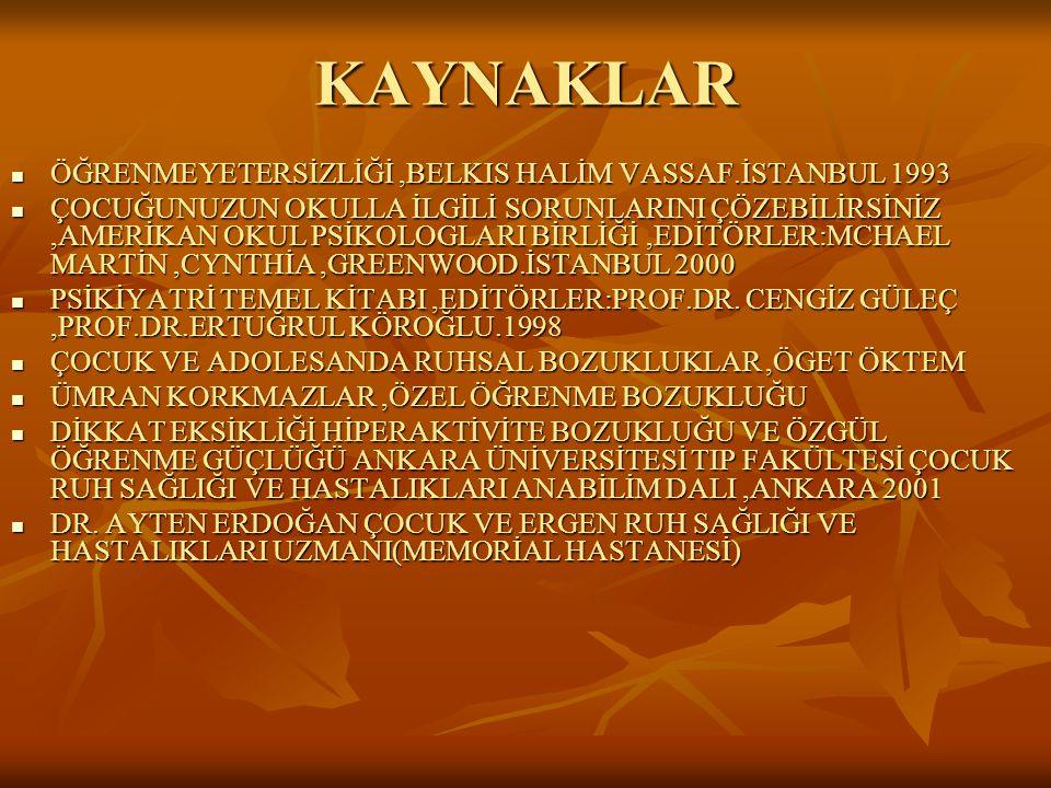 KAYNAKLAR ÖĞRENMEYETERSİZLİĞİ,BELKIS HALİM VASSAF.İSTANBUL 1993 ÖĞRENMEYETERSİZLİĞİ,BELKIS HALİM VASSAF.İSTANBUL 1993 ÇOCUĞUNUZUN OKULLA İLGİLİ SORUNL