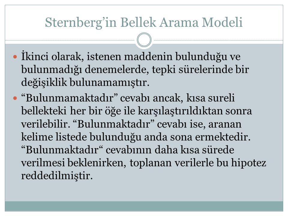 Sternberg'in Bellek Arama Modeli İkinci olarak, istenen maddenin bulunduğu ve bulunmadığı denemelerde, tepki sürelerinde bir değişiklik bulunamamıştır