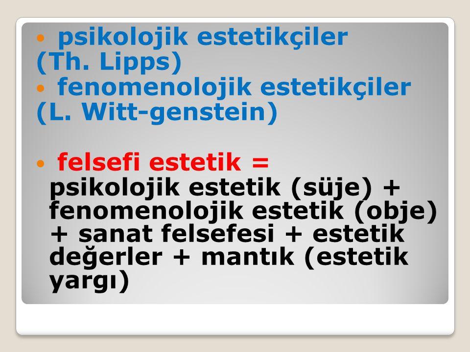psikolojik estetikçiler (Th.Lipps) fenomenolojik estetikçiler (L.