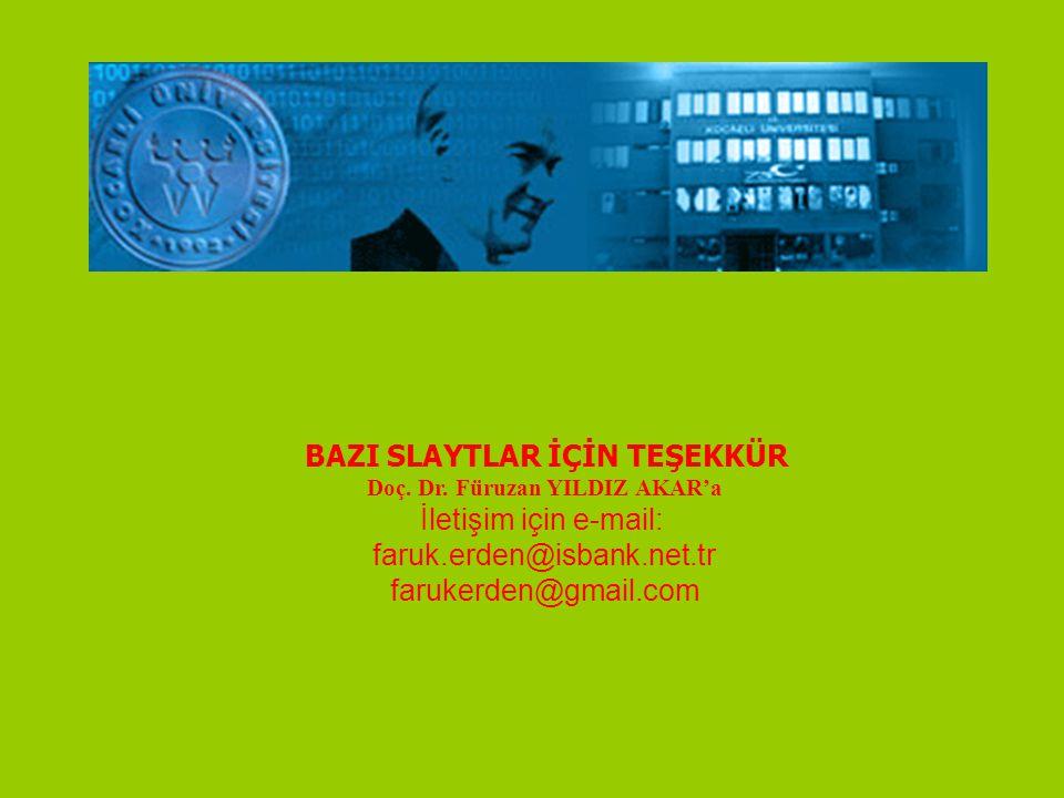 BAZI SLAYTLAR İÇİN TEŞEKKÜR Doç. Dr. Füruzan YILDIZ AKAR'a İletişim için e-mail: faruk.erden@isbank.net.tr farukerden@gmail.com