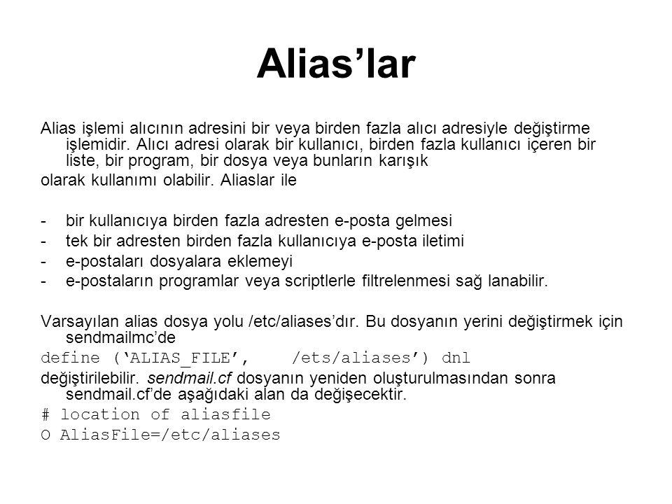 Alias'lar Alias işlemi alıcının adresini bir veya birden fazla alıcı adresiyle değiştirme işlemidir. Alıcı adresi olarak bir kullanıcı, birden fazla k