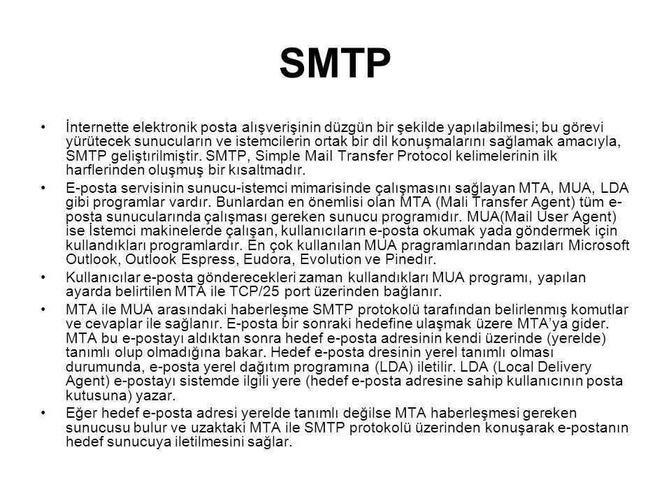 SMTP İnternette elektronik posta alışverişinin düzgün bir şekilde yapılabilmesi; bu görevi yürütecek sunucuların ve istemcilerin ortak bir dil konuşma