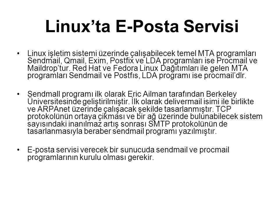 Linux'ta E-Posta Servisi Linux işletim sistemi üzerinde çalışabilecek temel MTA programları Sendmail, Qmail, Exim, Postfix ve LDA programları ise Proc