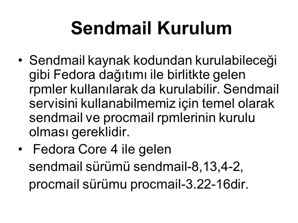 Sendmail Kurulum Sendmail kaynak kodundan kurulabileceği gibi Fedora dağıtımı ile birlitkte gelen rpmler kullanılarak da kurulabilir. Sendmail servisi