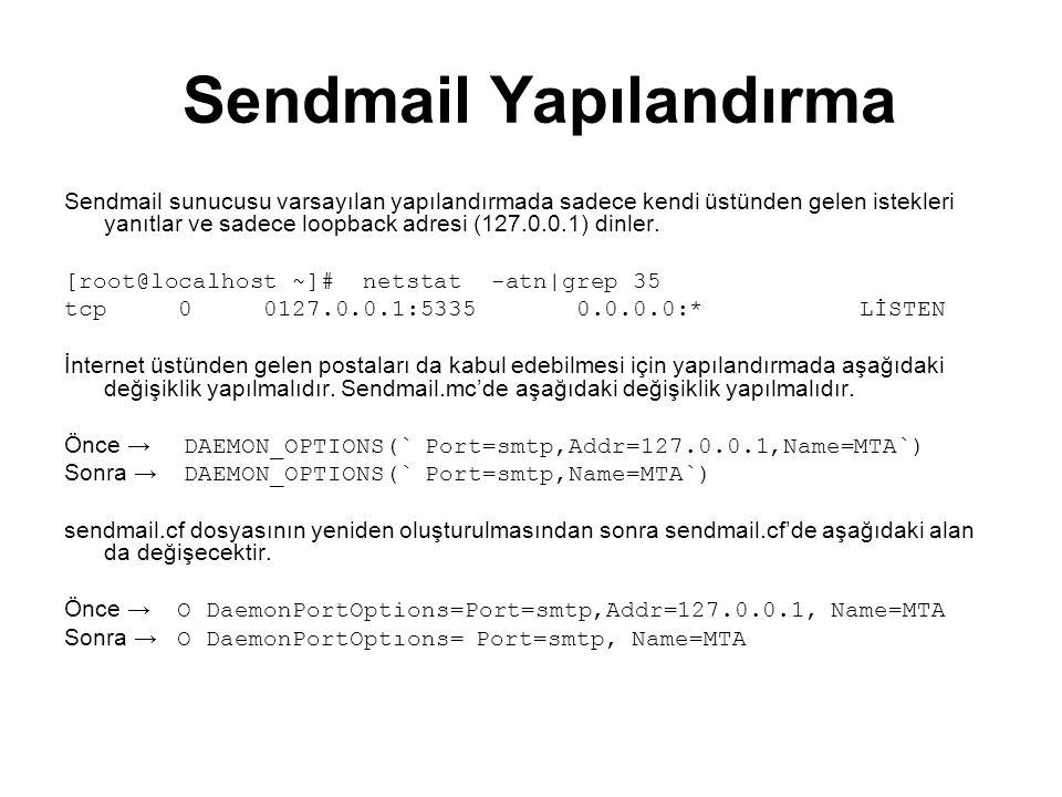 Sendmail Yapılandırma Sendmail sunucusu varsayılan yapılandırmada sadece kendi üstünden gelen istekleri yanıtlar ve sadece loopback adresi (127.0.0.1)