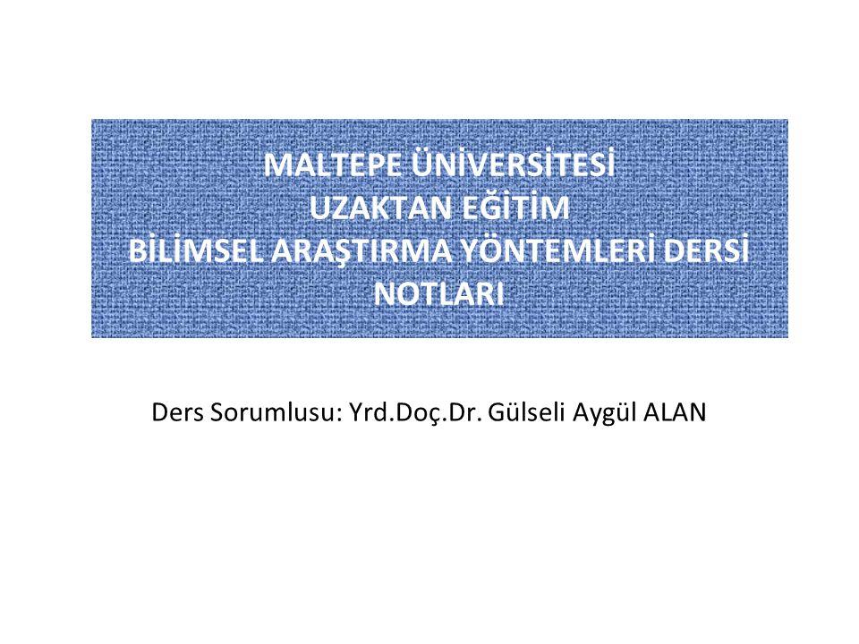 BİLİMSEL ARAŞTIRMA YÖNTEMLERİ DERSİ 3.