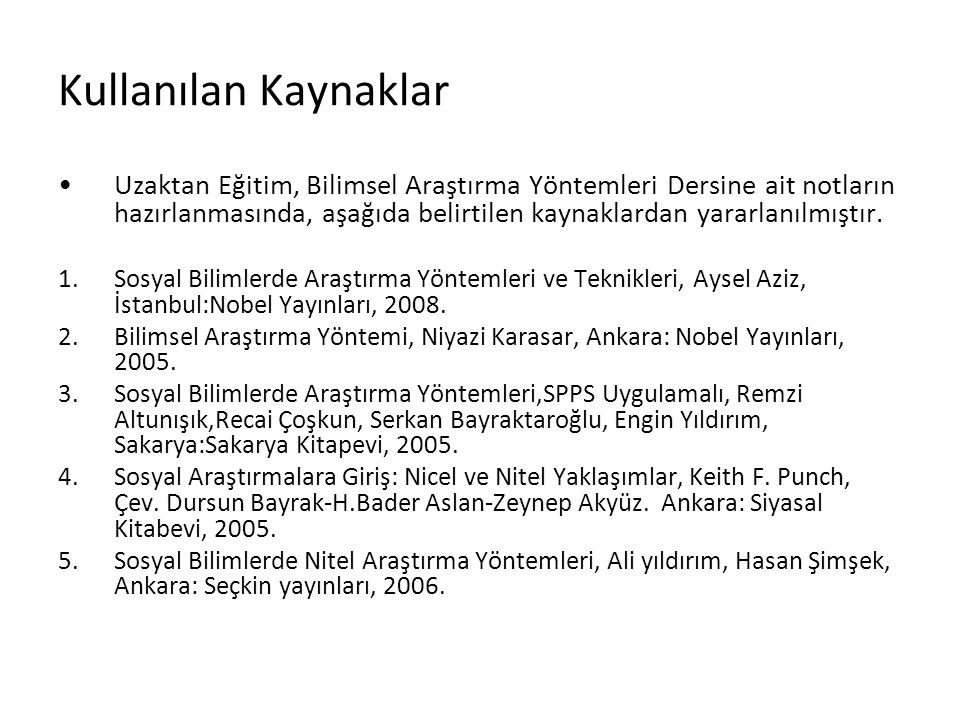BİLİMSEL ARAŞTIRMA YÖNTEMLERİ DERSİ 1.