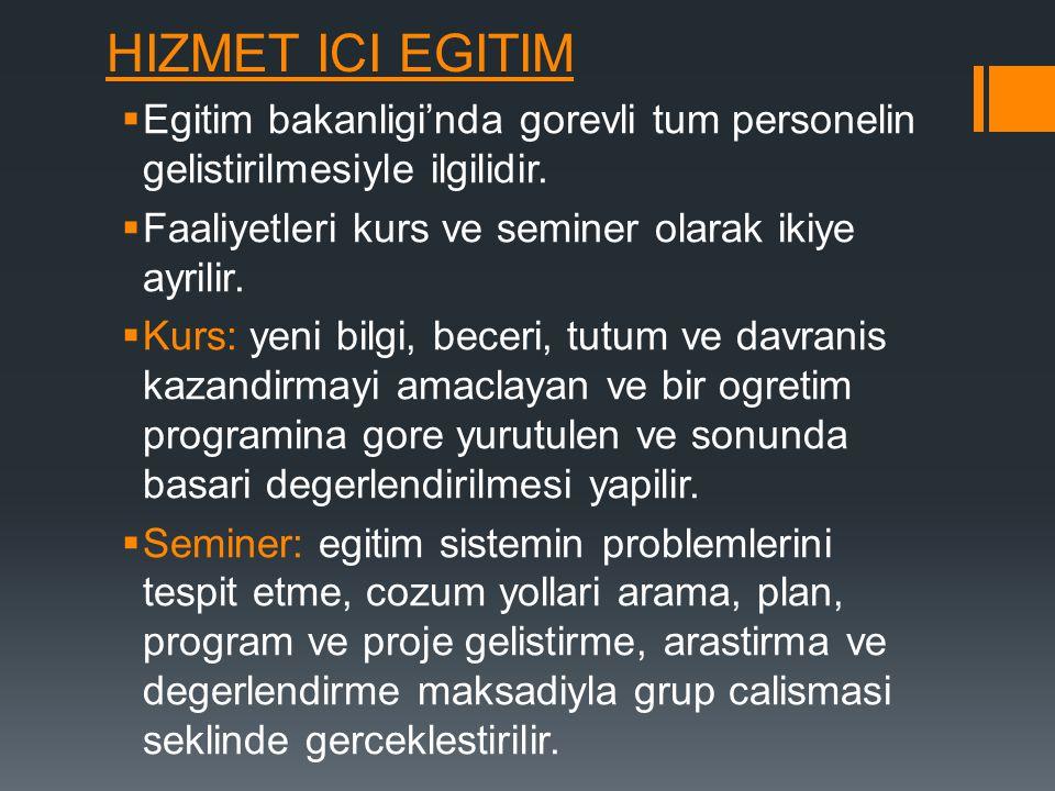 HIZMET ICI EGITIM  Egitim bakanligi'nda gorevli tum personelin gelistirilmesiyle ilgilidir.  Faaliyetleri kurs ve seminer olarak ikiye ayrilir.  Ku