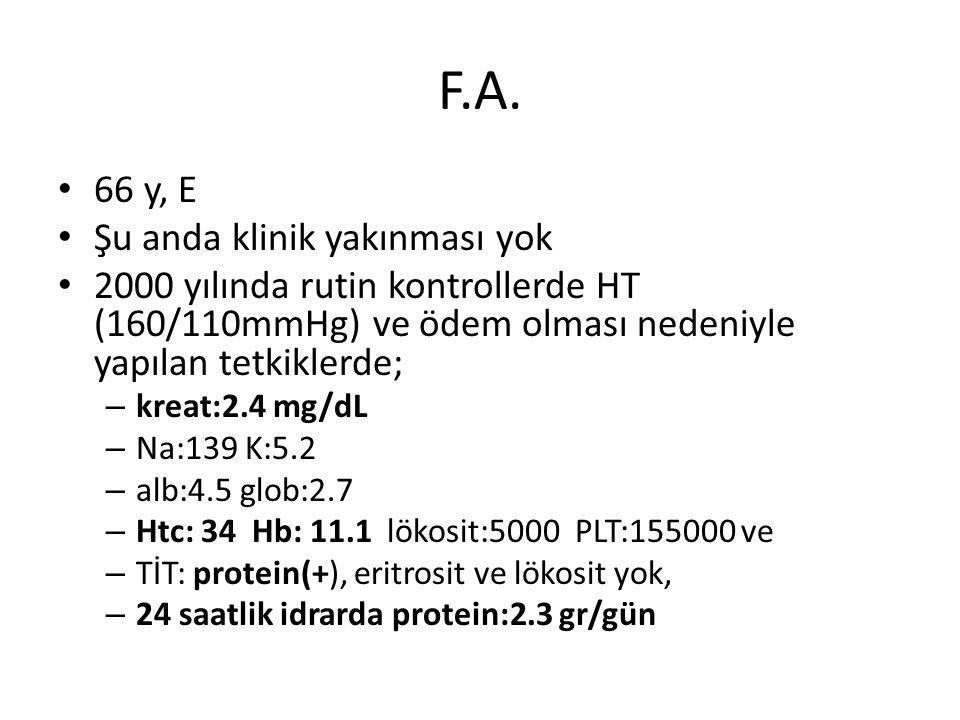 F.A. 66 y, E Şu anda klinik yakınması yok 2000 yılında rutin kontrollerde HT (160/110mmHg) ve ödem olması nedeniyle yapılan tetkiklerde; – kreat:2.4 m