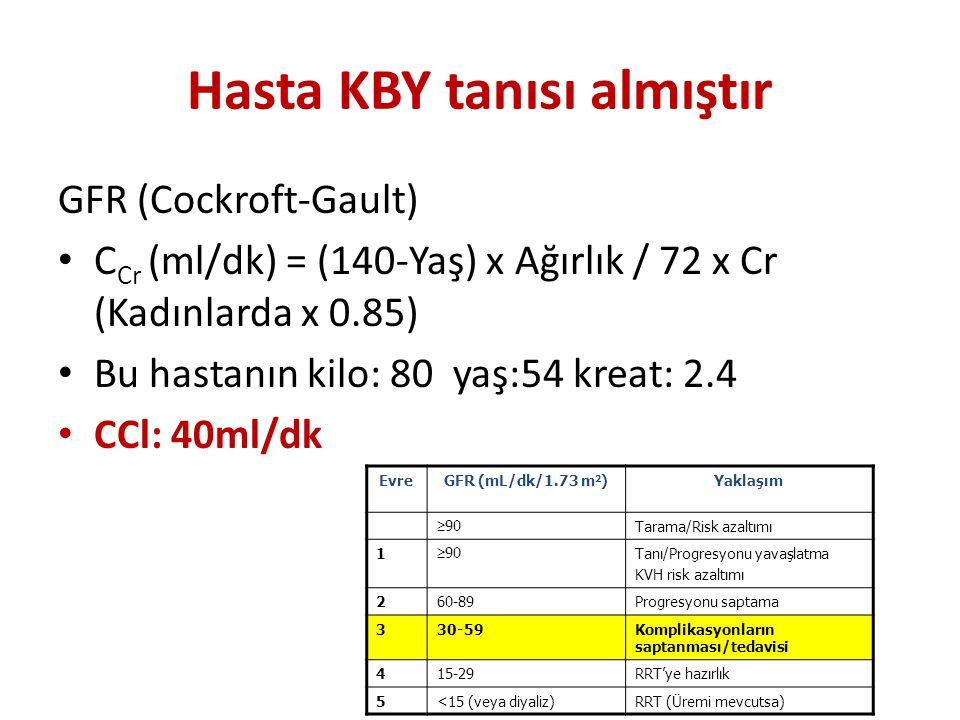 Hasta KBY tanısı almıştır GFR (Cockroft-Gault) C Cr (ml/dk) = (140-Yaş) x Ağırlık / 72 x Cr (Kadınlarda x 0.85) Bu hastanın kilo: 80 yaş:54 kreat: 2.4
