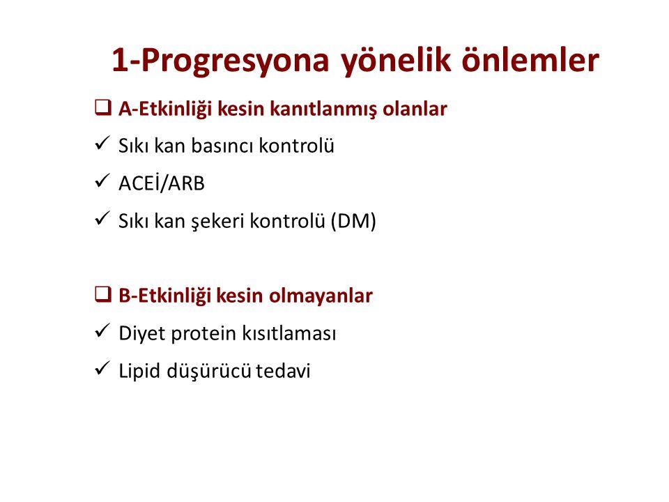 1-Progresyona yönelik önlemler  A-Etkinliği kesin kanıtlanmış olanlar Sıkı kan basıncı kontrolü ACEİ/ARB Sıkı kan şekeri kontrolü (DM)  B-Etkinliği