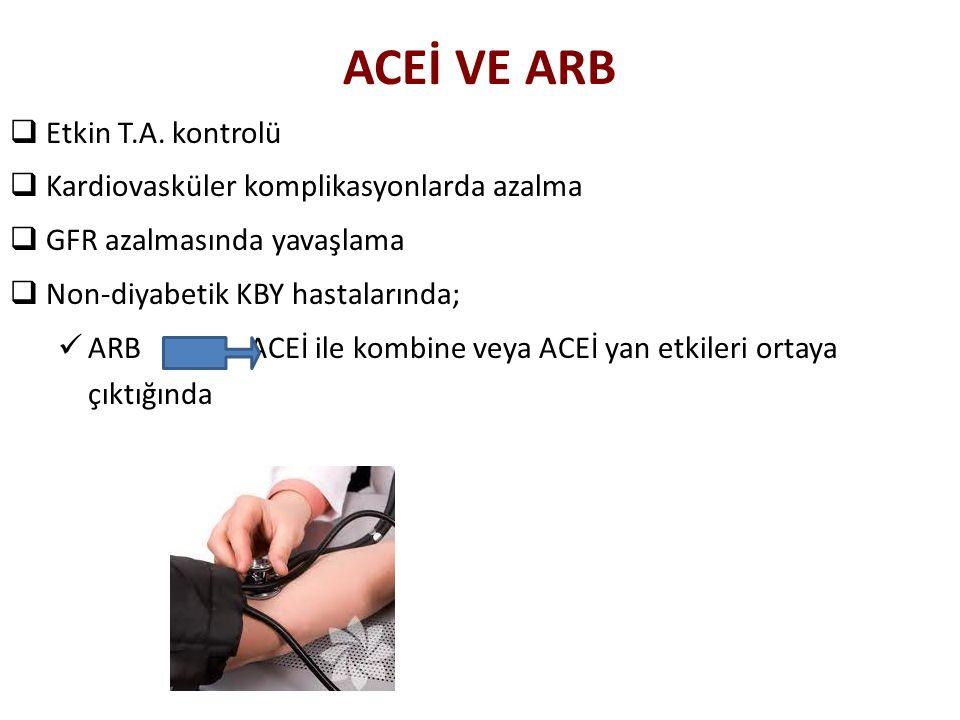 ACEİ VE ARB  Etkin T.A. kontrolü  Kardiovasküler komplikasyonlarda azalma  GFR azalmasında yavaşlama  Non-diyabetik KBY hastalarında; ARB ACEİ ile