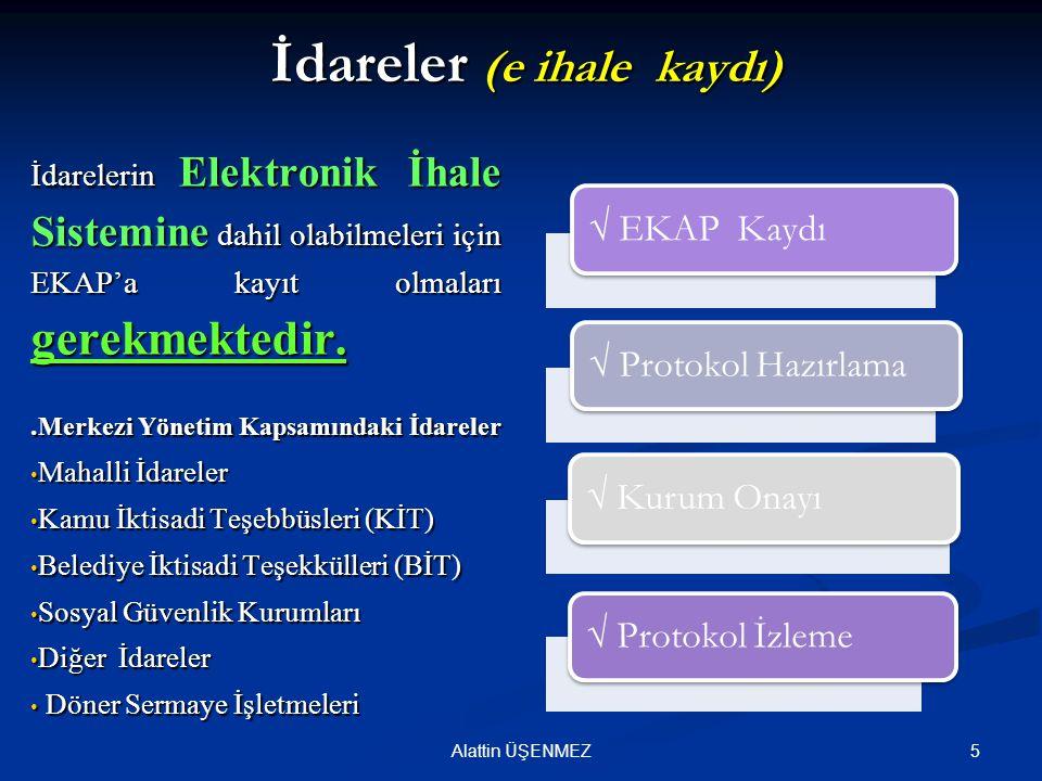 5Alattin ÜŞENMEZ İdareler (e ihale kaydı) İdarelerin Elektronik İhale Sistemine dahil olabilmeleri için EKAP'a kayıt olmaları gerekmektedir.. Merkezi